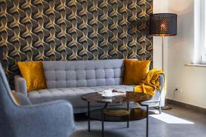 Couch im Wohnzimmer_Ferienhaus Nordseebirke